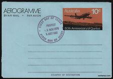1970 50th Anniversary QANTAS Aerogramme FDC FDI Postmark Stamps Australia