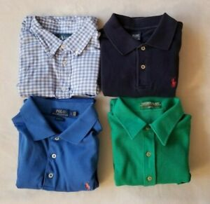 4 Polo Shirt Lot Ralph Lauren Grand Slam Munsingwear Size Large Blue Green