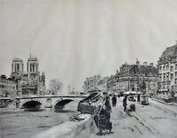 Luis Vérdes (XX) Lithographie: ALT-PARIS, STRASSENHÄNDLER, DIE SEINE, NOTRE DOME