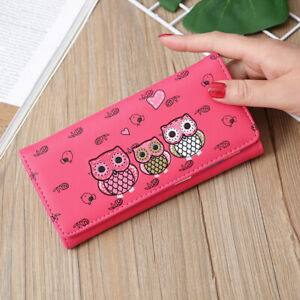US Women Owl Printing Long Clutch Wallet Coin Purse Card Holders Phone Handbag