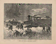 Snow Drift On The Union Pacific Railway, Vintage, 1870 Antique Art, Print,