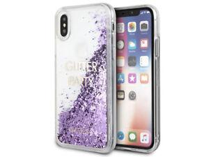 Genuine GUESS Liquid Purple Glitter Case For iPhone X