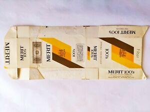 MERIT 100's PACCHETTO SIGARETTE EMPTY VUOTO CIGARETTES PACKET TOBACCO
