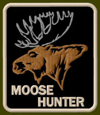 "MOOSE HUNTER EMBROIDERED PATCH ~3-1/2"" x 3-1/8"" AUFNÄHER BRODÉ ANIMAL ANTLER"