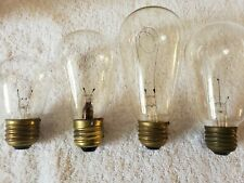 Working Lot 4 Antique Filament Round Top Early Edison Carbon Balloon Light Bulbs