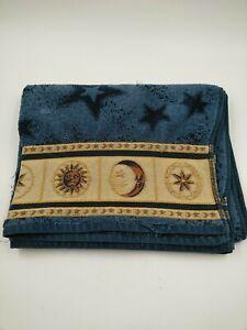 Celestial Sun Moon Stars Bath Towel Blue 50 x 28 in Lunar Embroidered No Tag