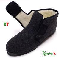 Pantofole ciabatte alte uomo strappo italiane calde comode NUMERI GRANDI Grigie
