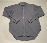 TM Lewin Button Down Shirt L/S Blue White Striped French Cuff Mens Sz 17-34.5