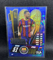 Lionel Messi 2020-21 Topps Blue Foil 100 Club Barcelona Match Attax SP Card CL9