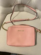 Michael Kors Pastel Pink Leather Small Crossbody Purse Clutch Bag Used See Pics