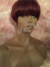 100% Synthetic Full Cap Fish Bowl Short Cut Wig ( Burgundy )