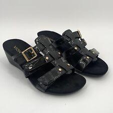 Vionic 381Radia Sz 6 WIDE Slide Sandal Black Croc Adjustable Straps Wedge Heel