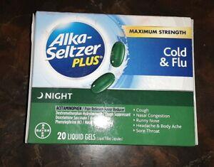 Alka-Seltzer Plus Max Strength Cold & Flu Liquid Gels Nighttime 20 Ct Exp 3/20