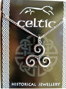 """Pewter Celtic Triskele Pendant On A 18"""" /46cm Chain Necklace  Earth Water & Sky"""