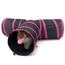 Pet Cat Kitten Tunnel Play Collapsible Funny 3 WAY Tube Toy With Ball Outdoor