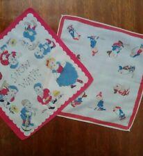 Lot Of 2 Snow White 7 Dwarfs Vtg Childrens Hankies Walt Disney Enterprises 1938