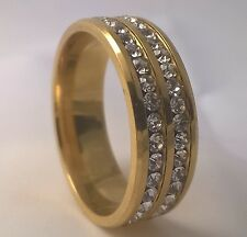 G-Filled Men's 18ct yellow gold simulated diamond wedding ring 8mm band bling 9