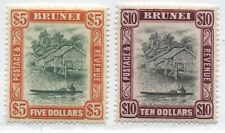 Brunei 1948 $5 and $10 unmounted mint NH