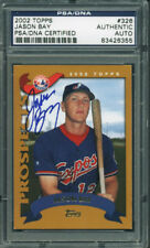 Expos Jason Bay Authentic Signed Card 2002 Topps Rookie #326 PSA/DNA Slabbed