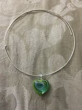"""Glass 1"""" Heart Choker Necklace 12"""" To 16"""" Diameter Clear W/ Green & Turquoise"""