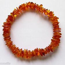 Genuine Baltic amber bracelet, cognac shade irregular nuggets, stretchable