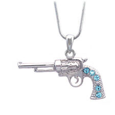 3D Western Cowboy Cowgirl Aqua Blue Revolver Pistol Gun Pendant Necklace