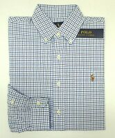 NWT $89 Polo Ralph Lauren Blue Plaid Shirt Mens Size Small Oxford Cotton LS NEW