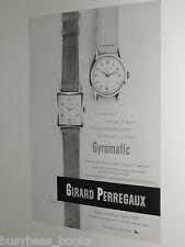 1951 Girard Perregaux Watch advert page, Gyromatic wristwatches