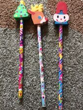 LISA FRANK, PENCILS WITH ERASERS, CHRISTMAS AND HALLOWEEN. COLLECTORS ITEMS