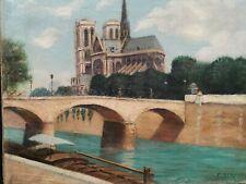 Ancien Tableau / Huile sur Toile signée C.RENAUD Quais de Seine Notre Dame Paris