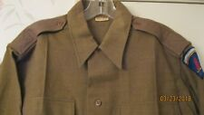 "Original US WW2 EM / Officer OD Wool Field Grade Shirt 16"" Collar w/ SHAEF patch"