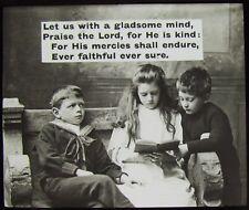 Glass Magic Lantern Slide CHILDREN READING WITH RELIGIOUS TEXT C1900 PHOTO