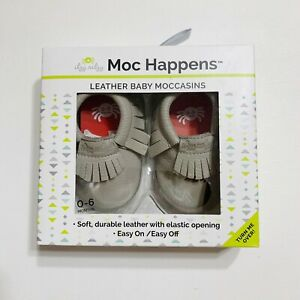 Itzy Ritzy Moc Happens Leather Baby Moccasins Shoes Pebble Gray 0-6M Infant NIB