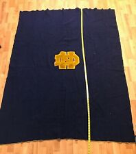 """New listing Vintage Wool Notre Dame Blue Blanket 70"""" x 60� Stitched Yellow Trim"""