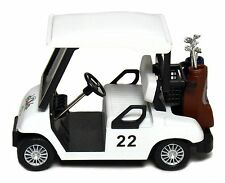 "New 4.5"" Kinsfun Golf Cart w/ Clubs Diecast Metal Model Caddy Toy Car White Logo"