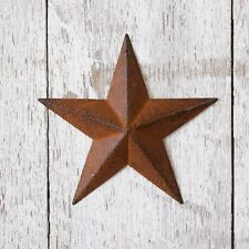"SET OF 4 RUSTY AMERICANA METAL BARN STARS 5.5"" WIDE COUNTRY RUST COLORED"