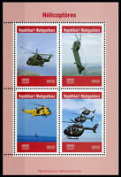 Madagascar 2019 MNH Helicopters Helicopter 4v M/S Red Cross Aviation Stamps