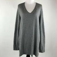 J. Jill Women Gray Knit V Neck long Sleeve Sweater sz L