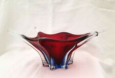 Coupe Murano / Teinté, rouge, bleu et les pointes, incolore - Années 60/70