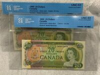 2 X 1969 Canada $20 Sequential CCCS Graded Choice UNC-63