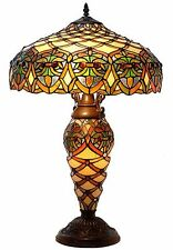 """Table Lamp Stained Glass 2 Light Lit Base Tiffany Style Handcrafted 16""""D x 25""""H"""