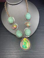 "Vintage Statement Necklace Imitation opal Link Iridescent  Green Gold Tone 18"""