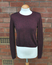 Ladies Topshop Burgundy Red Marl Long Sleeved Crop Jumper Casual Slouch 14 UK