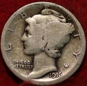 1916-D Denver Mint Silver Mercury Dime