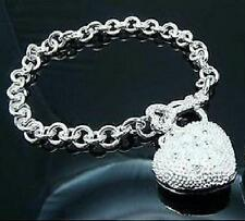 New 925 Sterling Silver Filled Frosted Heart and Key Toggle Clasp Bracelet