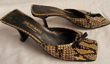 Bruno Magli Sandals SNAKESKIN 9.5 Womens Shoes Italy Slides Heels Couture