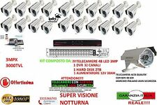 KIT VIDEOSORVEGLIANZA AHD IP CLOUD DVR 32 CANALI 20 TELECAMERE AHD 3MP HD 48LED