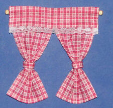 1/12 dolls house Miniature Pink Check Curtains & Rail Bedroom Kitchen Drapes LGW
