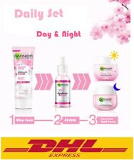 Set Of GARNIER Skin Natural Face Care Sakura Hyarulon Serum+Foam+Day&Night Cream