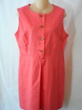 LL Bean Petite Linscott Dress Pleated Button Front 14P Coral New With Tags